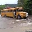 Public Buses Brave Flooded Bridge in Nicara