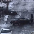 Cars Sliding Down Icy Road in Pittsburgh