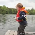 Little Boy Catches His First Fish