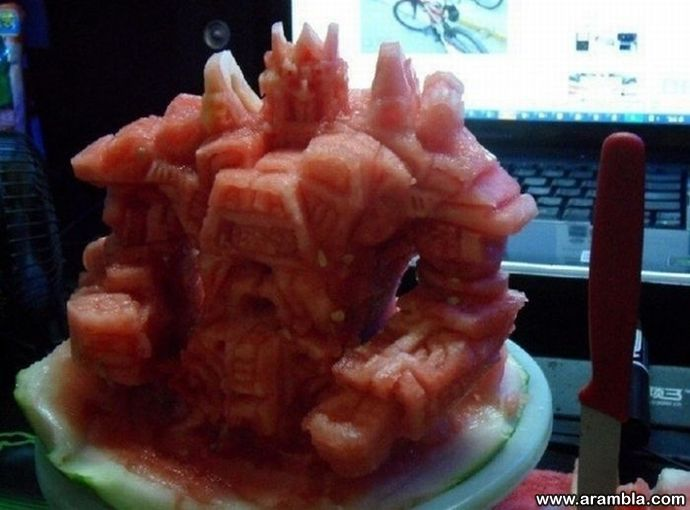 Sculpture from watermelon